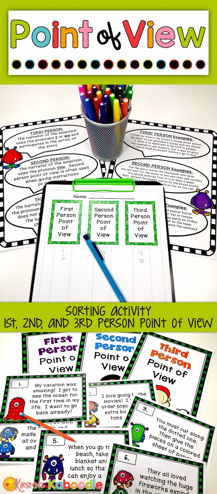 Point Of View Practice Sorting Activity For 1st 2nd