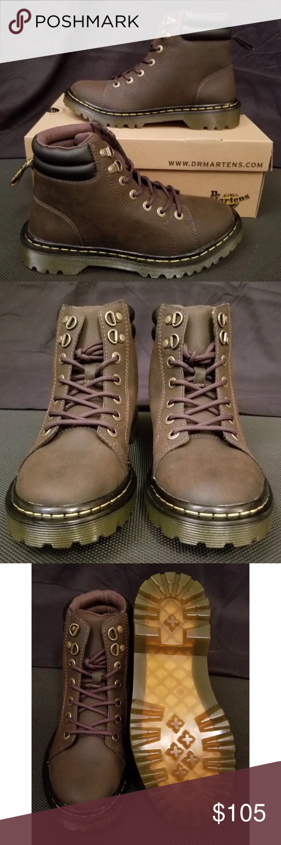 d97f90cd0b6b Dr Martens Faora Boots Premium dark brown leather upper. Lace-up closure  with brand