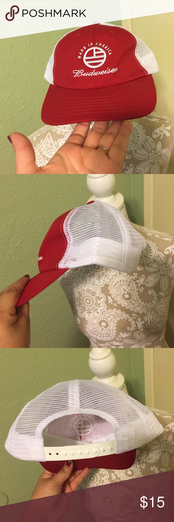 New Budweiser cap New Budweiser cap in red and white. Brand new never been worn just doesn't have tags. Great to wear to the river or during those hot summers. No trades. Budweiser Accessories Hats