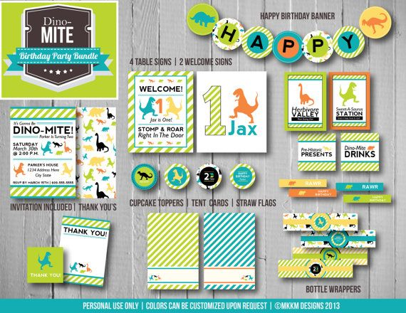 DinoMite Birthday Party Bundle Party Printables Kit Invite