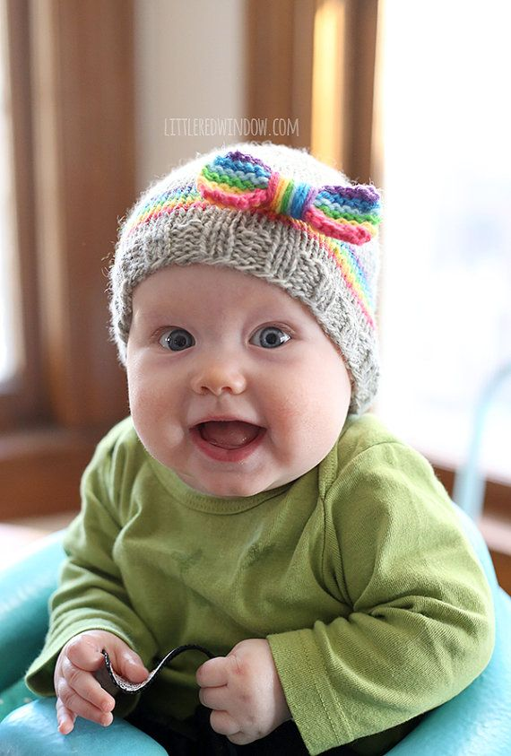 RainBOW Baby Hat KNITTING PATTERN - knit hat pattern for babies ...
