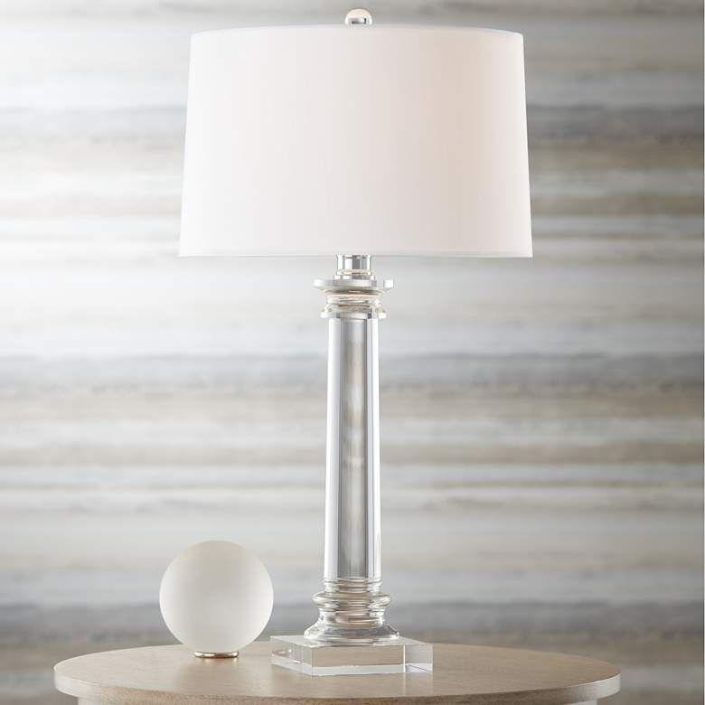 Vienna Full Spectrum Modern Crystal Column Table Lamp 3m972 Lamps Plus In 2020 Crystal Table Lamps Modern Table Lamp Table Lamp