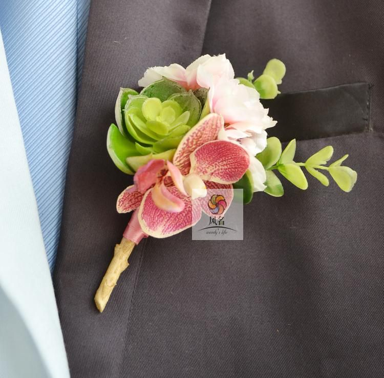 5pcs Lot Best Man Groom Boutonniere Real Touch Flower Wedding