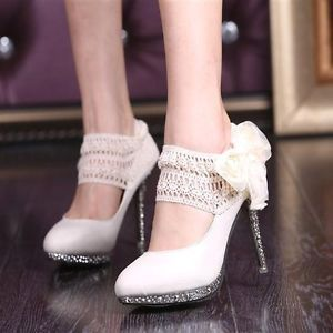 sparkly wedding party queen ankle with flower lace strappy