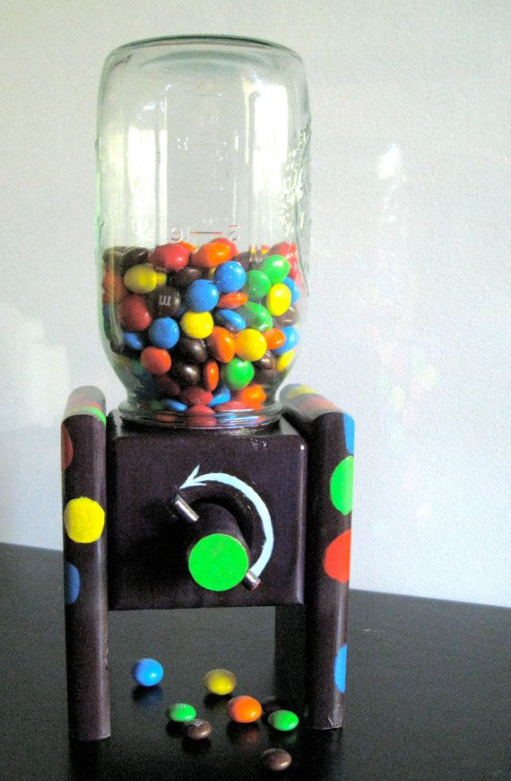 Playful Candy Dispenser Of Wood And A Mason Jar Sweet Machine