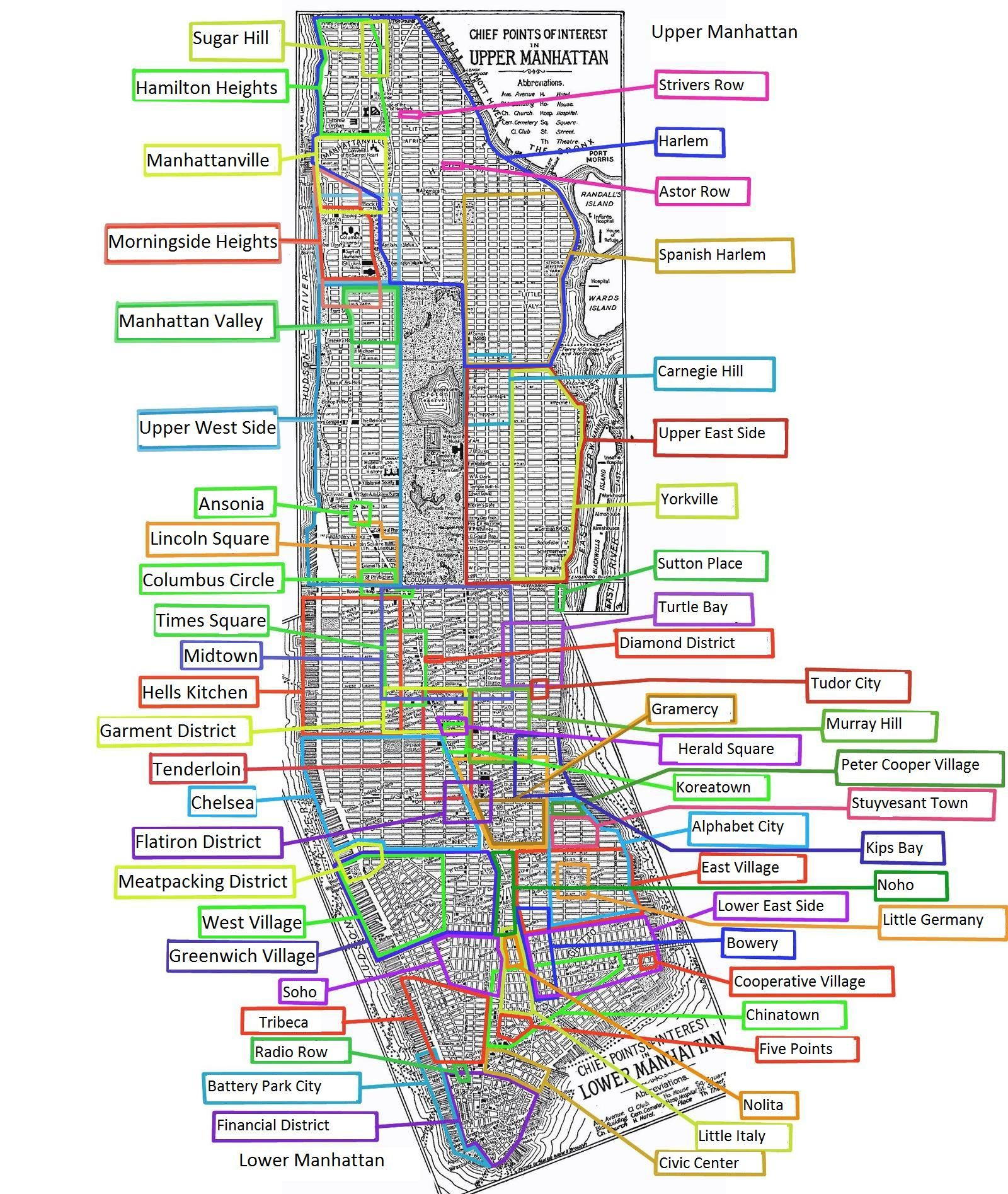 Neighborhoods Of Manhattan X Manhattan - Nyc map with neighborhoods