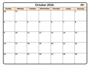 picture about 2106 Calendar Printable called oct printable calendar 2016, print out calendar oct