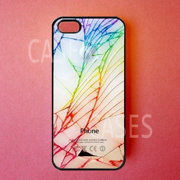 Iphone 5 Cases – Iphone 5 Covers -Colorful Cracked Screen – Rubber Iphone Cases – Cute Stylish UniqueDesigner Protective Cases for Iphone. $16.99, via Etsy.