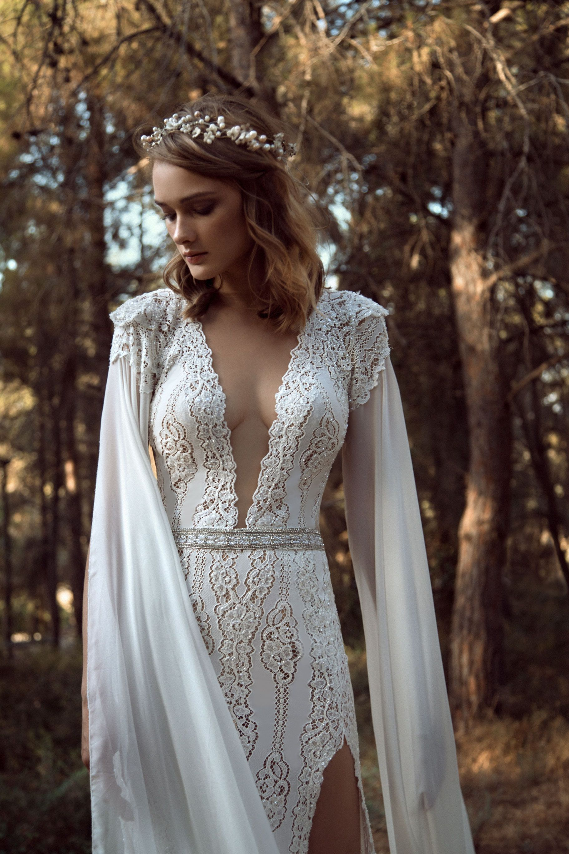 Add on sleeves for wedding dresses  Sexy Aline dress with lace and a front slit with a very low