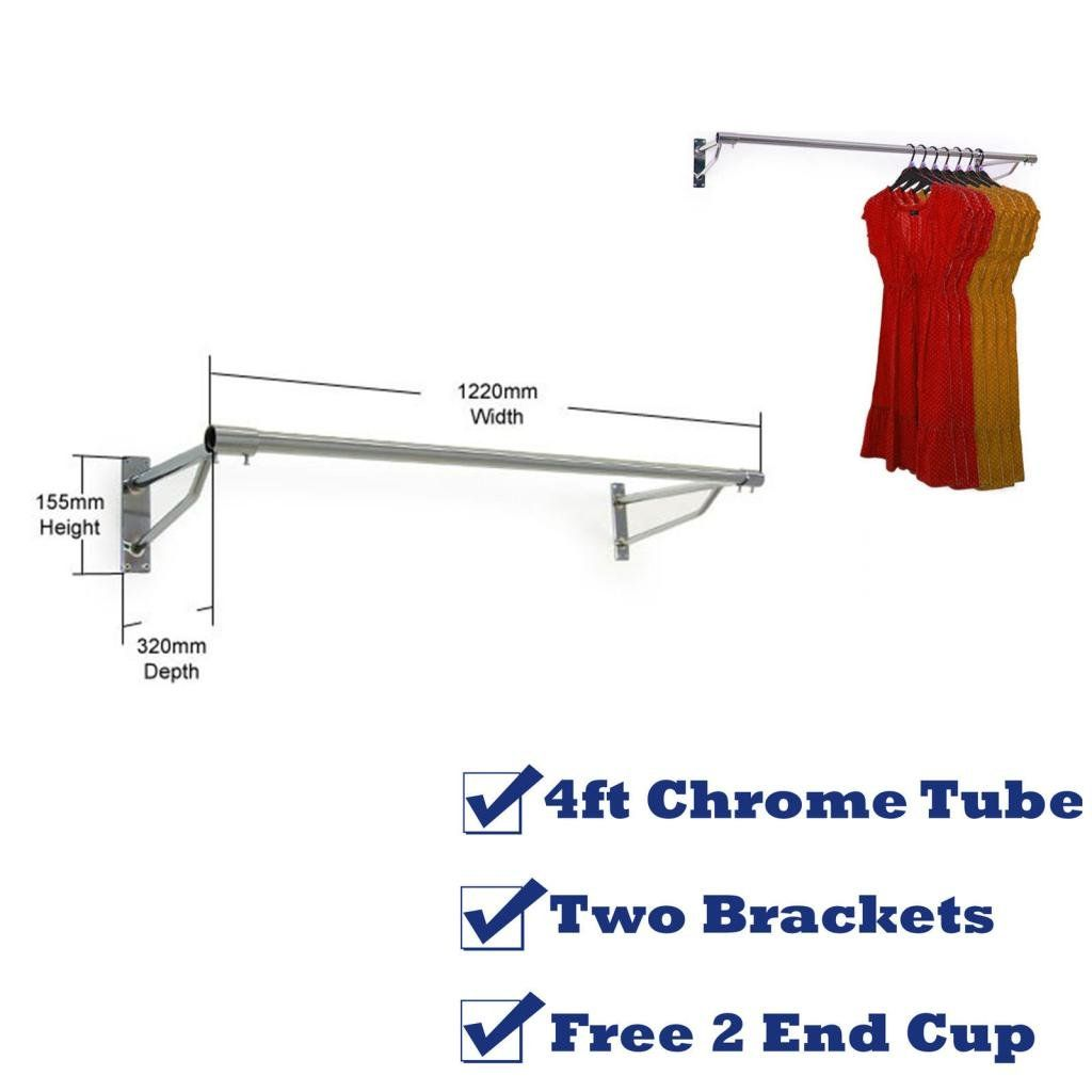 free uk delivery 32mm 4ft garment clothes rail wall mounted hanging rail display tubing. Black Bedroom Furniture Sets. Home Design Ideas