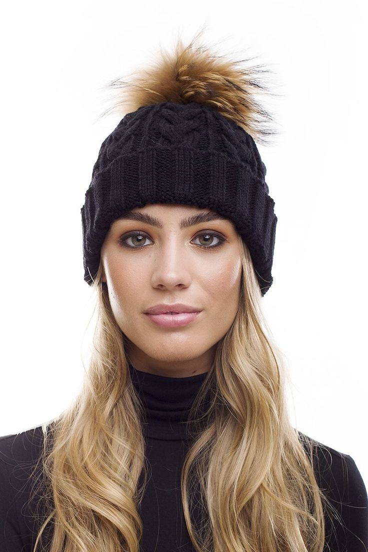 ef3d2a083ec Raccoon Fur Pom Pom Cable Knit Bobble Hat In Black