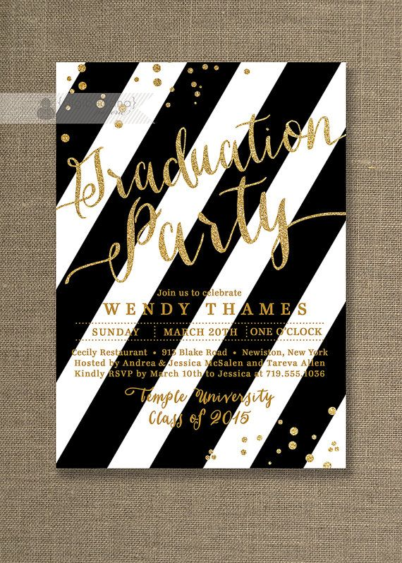 Gold black and white graduation party invitation glitter stripes gold black graduation party invitation gold glitter black and white stripes modern high school college diy digital or printed wendy style filmwisefo
