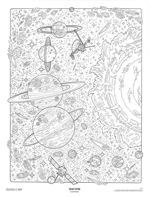 SOLAR SYSTEM Doodle Art Colouring Poster This Was