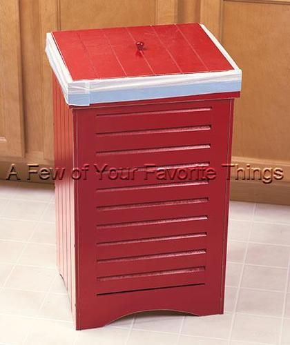 13 GALLON KITCHEN RED WOODEN TRASH CAN BIN WITH LID ...