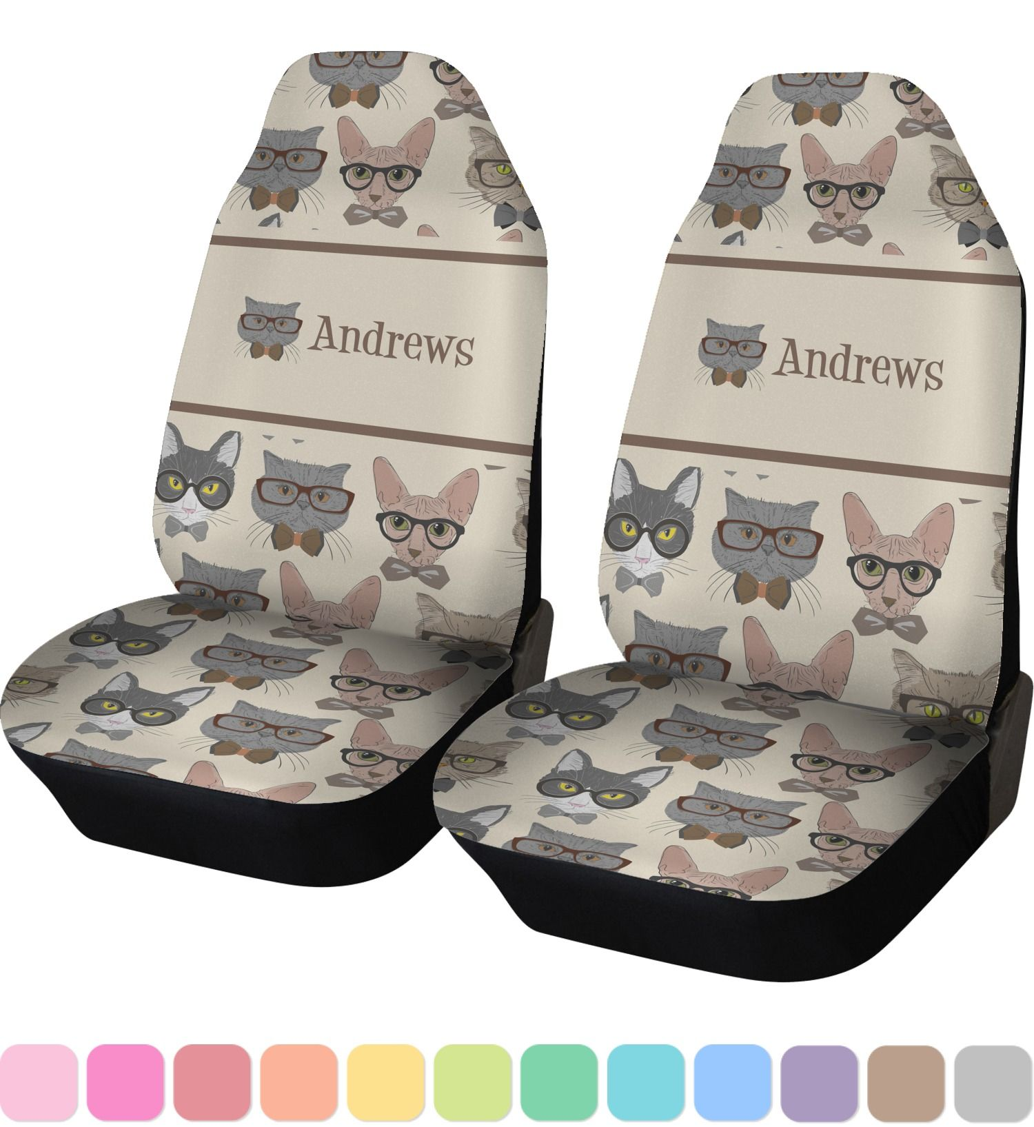 Hipster Cats Custom Car Seat Covers Set Of Two