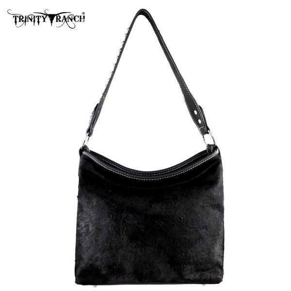 85.21$  Buy here - http://vifpl.justgood.pw/vig/item.php?t=v0xi4w1331 - Montana West Trinity Ranch Black Hair-On-Leather Shoulder Bag Purse 85.21$