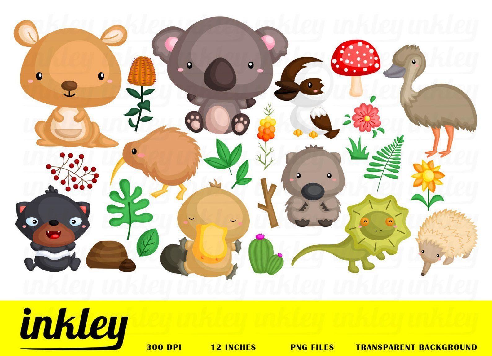 Australia Animal Clipart Cute Animal Clip Art Australia Etsy Australia Animals Animal Clipart Clip Art