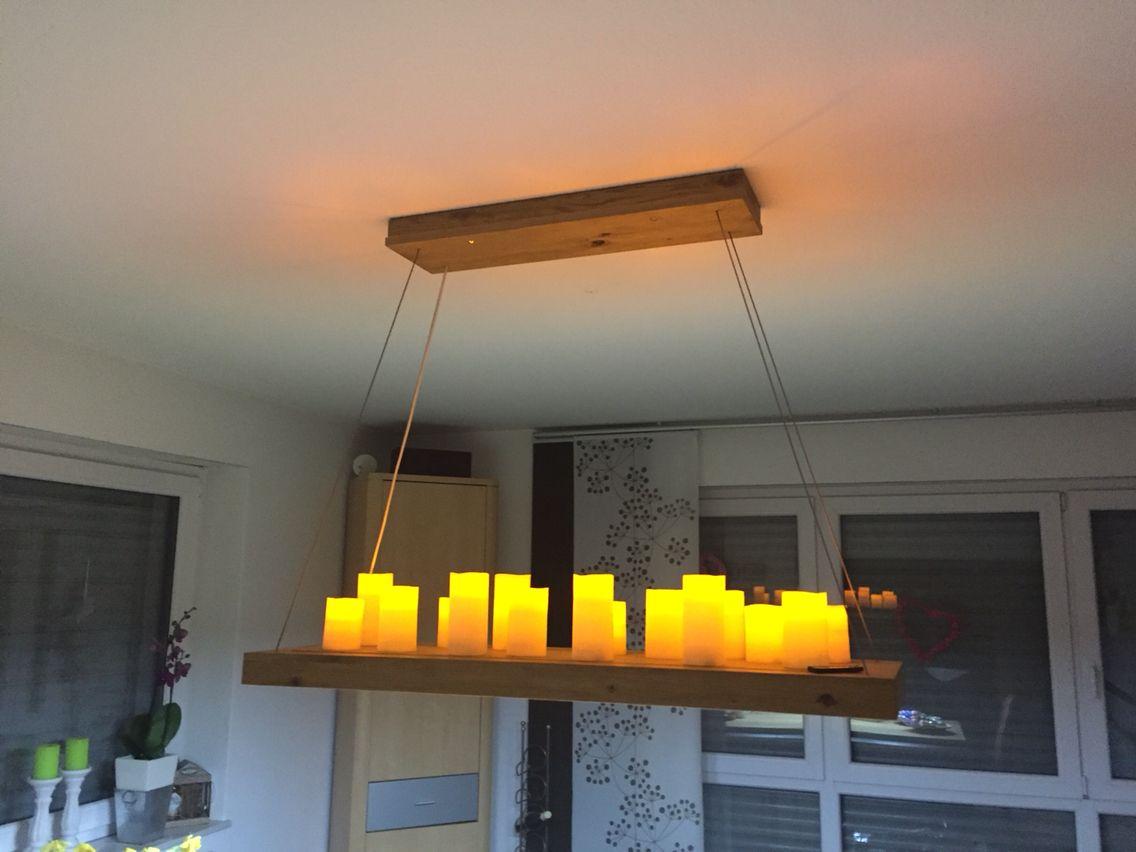 Wohnzimmer Lampe ~ Diy wohnzimmerlampe mit led kerzen wohnzimmerlampen pinterest