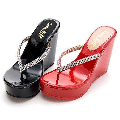 452d850f4cec BN Womens Jeweled Shiny High Wedge Platform Slippers Flip-Flops Black