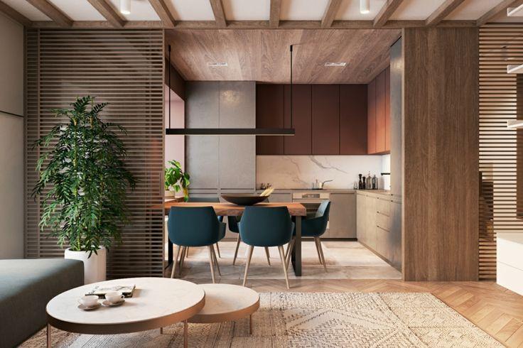 Controsoffitto Con Travi In Legno : Cucina soggiorno open space tavolini rotondi bassi due tipi di