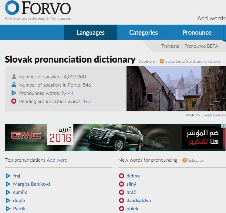 Slovak Pronunciation Dictionary Slovak Language Slovak