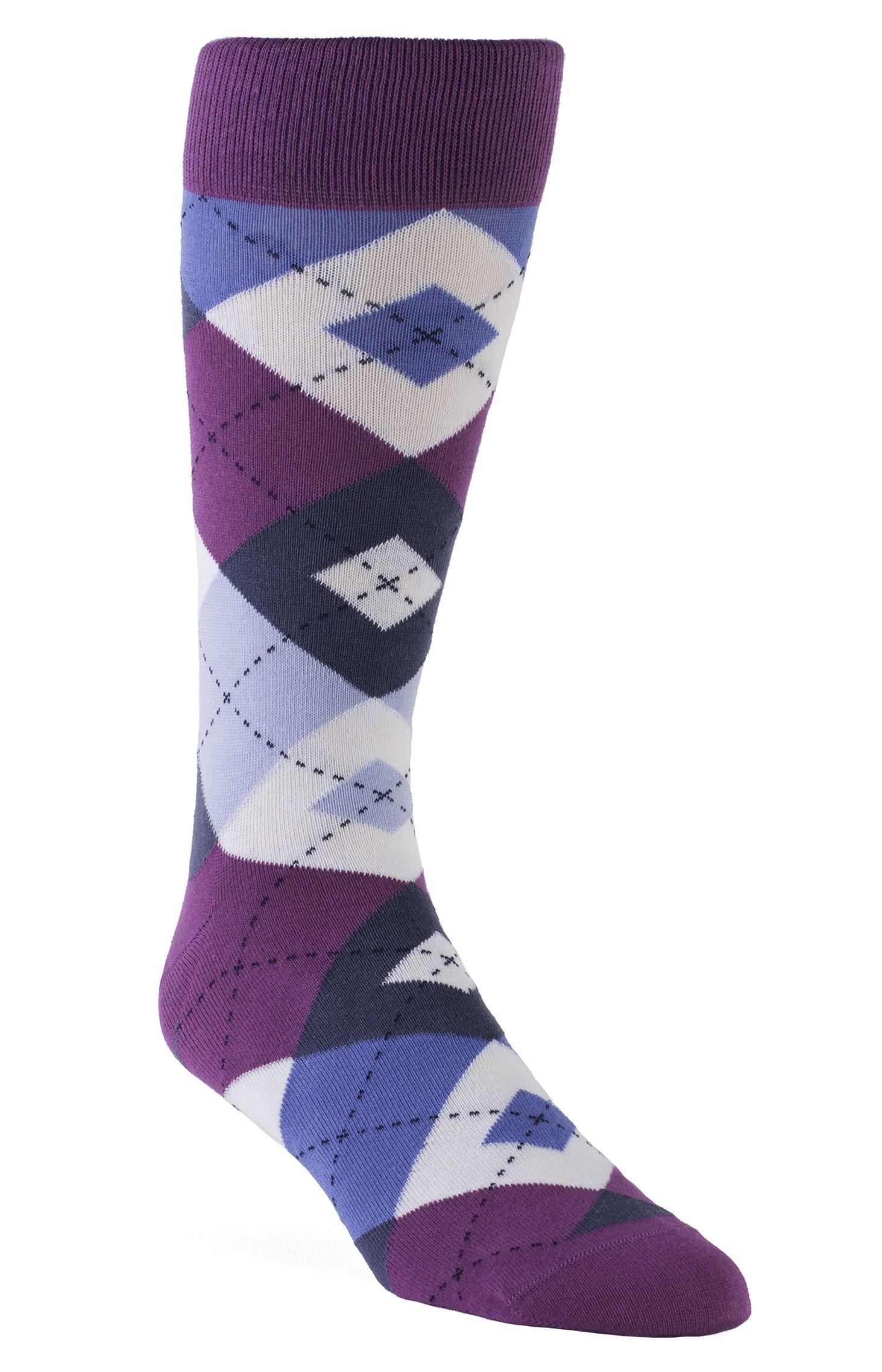 New Mens Alfani Spectrum Black Purple Block Plaid Crew Dress Socks 10-13
