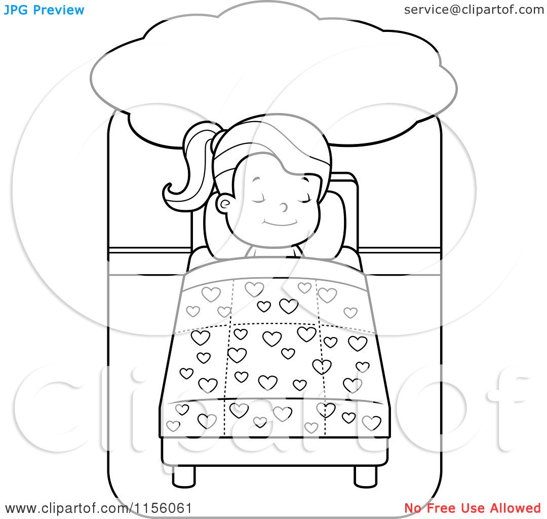 Cartoon-Clipart-Of-A-Black-And-White-Little-Girl-Dreaming-And ...