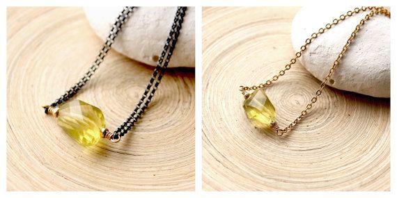 Lemon Yellow Quartz choker necklace Gold filled by EverywhereUR