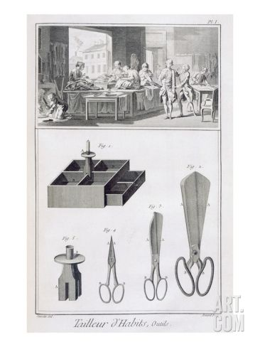 Tailor, from the 'Encyclopedie Des Sciences Et Metiers' by Denis Diderot (1713-84) Published C.1770 Giclee Print by French at Art.com