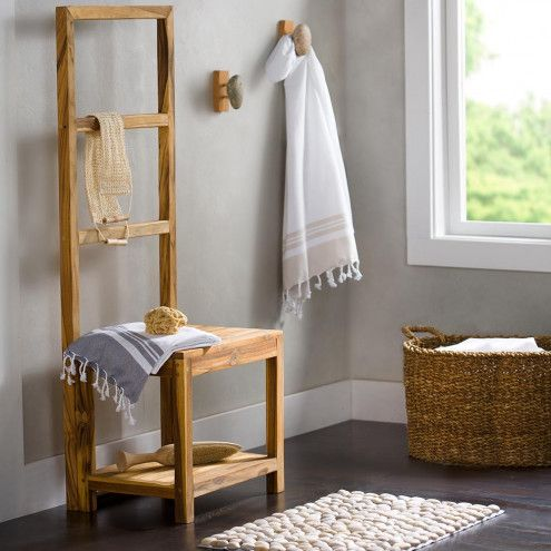 Sustainable Teak Bathroom Butler Towel Rack Stool Vivaterra
