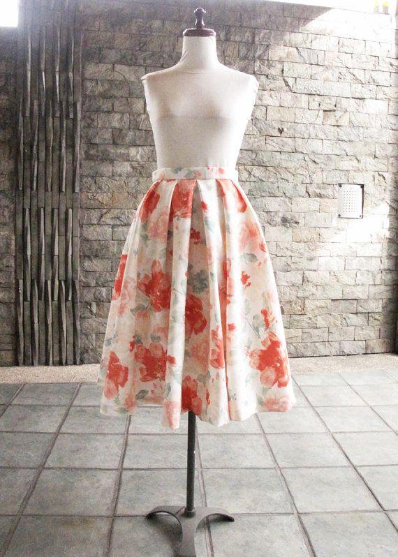 Tea Length Floral Skirt