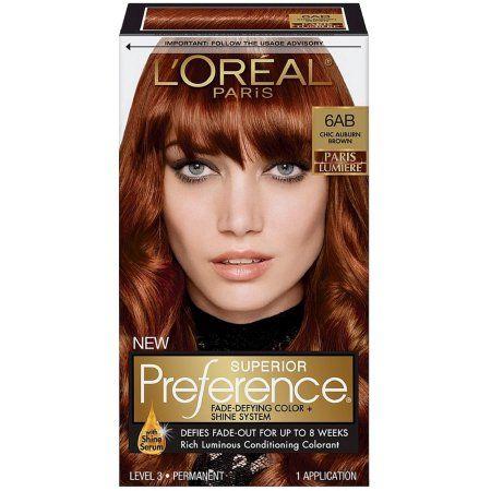 L Oreal Paris Superior Preference Fade Defying Shine Permanent Hair Color 6ab Chic Auburn Brown 1 Kit Walmart Com Brown Hair Dye Lasting Hair Color Permanent Hair Color