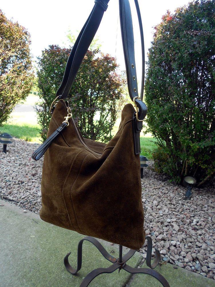 841333ae39f5 COACH Dark Brown Suede Shoulder  Handbag with Adjustable Strap 9324  Coach   ShoulderBag