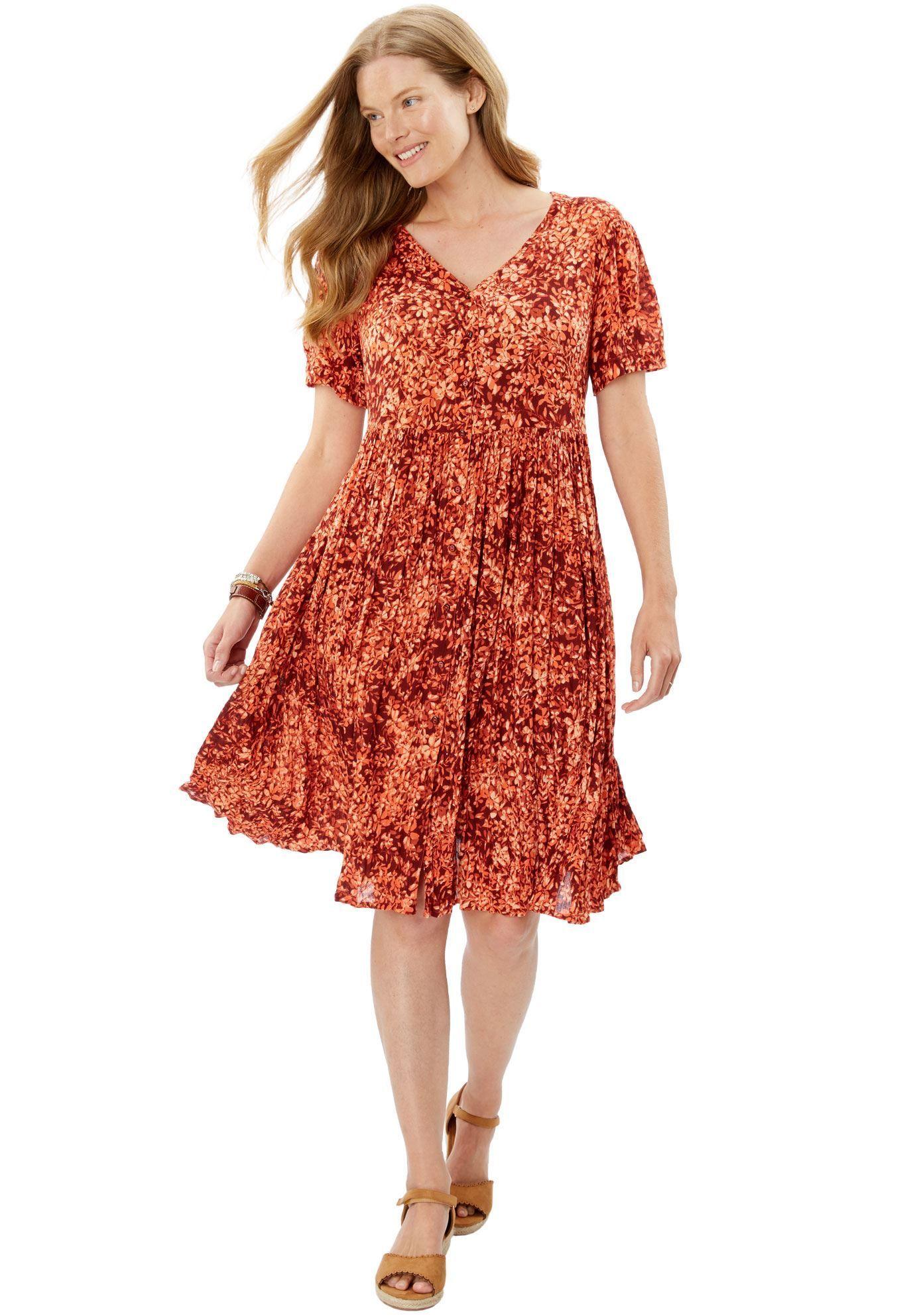 Short, button front crinkle dress Women's Plus Size