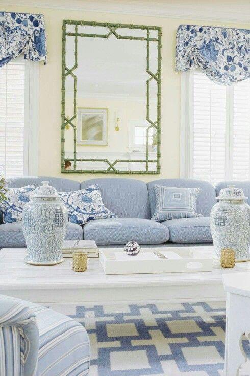 Blue & White Living Room Traditional Home Magazine