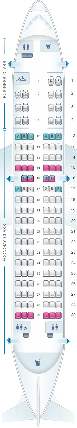 Seat Map Air Canada Airbus A319 100 Rouge