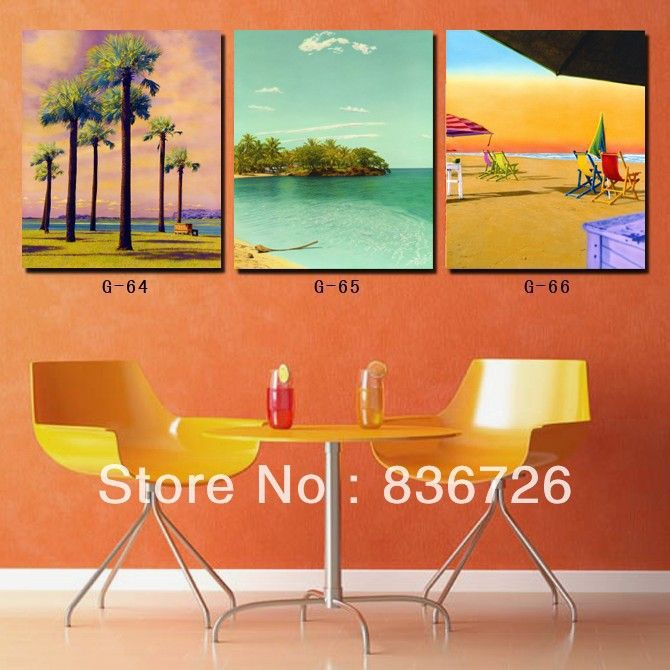 3 Piece Canvas Wall Art Beach And Palm Tree Painting Canvas Captivating Paintings For Dining Room Walls 2018