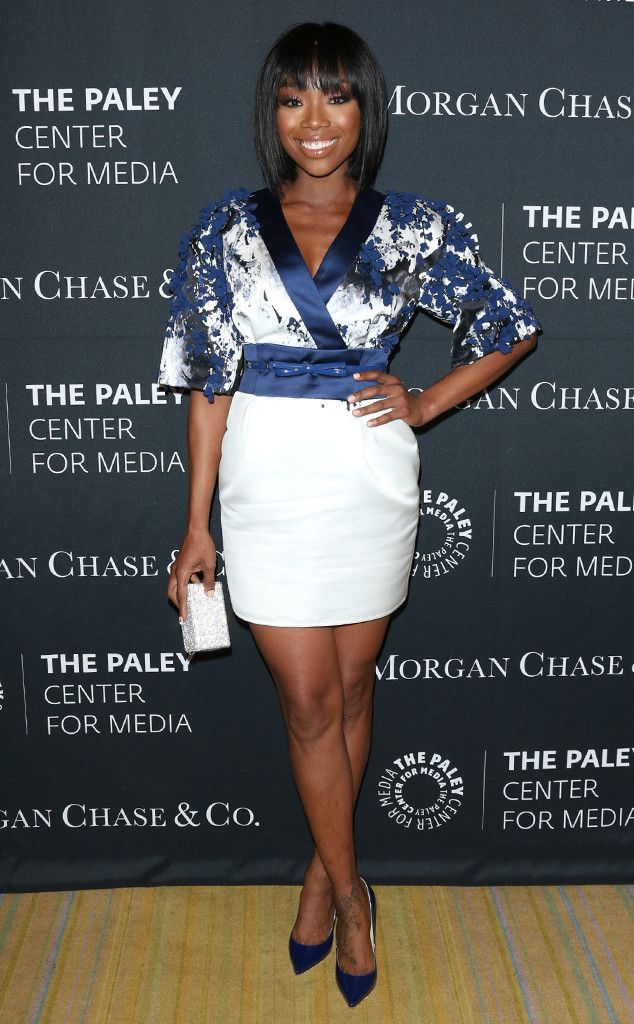 Brandy Norwood from The Paley Center for Media's Hollywood Tribute to African-American Achievements in Television  The singer shows off her killer legs in this blue and white mini dress.