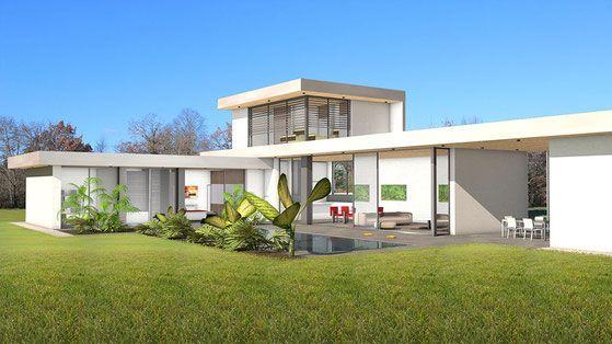Villa de luxe avec étage partiel et baies vitrées toute hauteur architecte atelier scénario