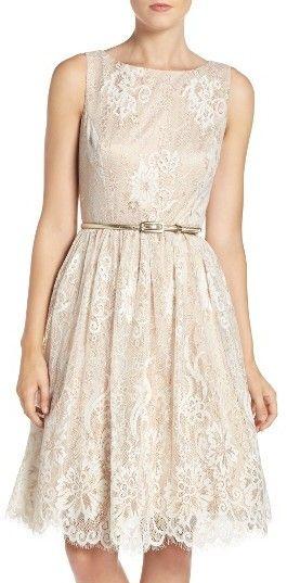 Women's Eliza J Belted Lace Fit & Flare Dress