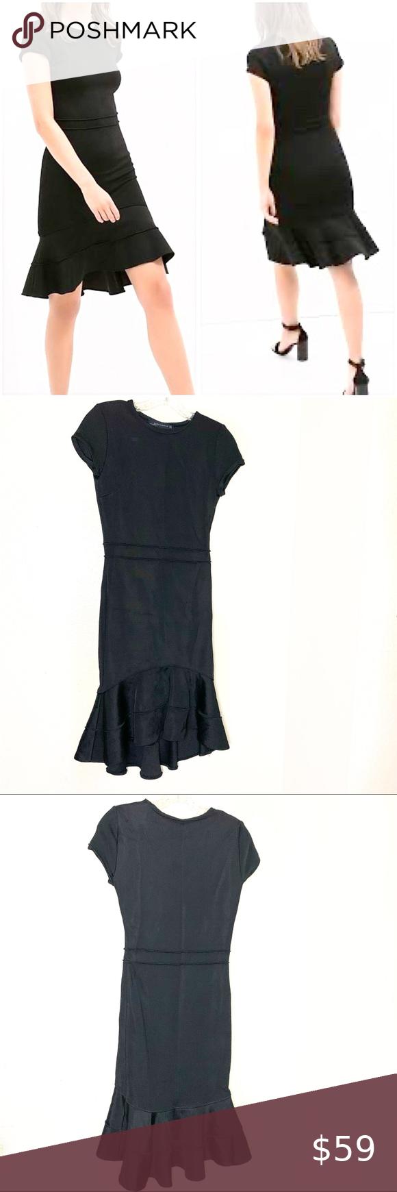 Zara Black Ruffle Hem Dress Ruffle Hem Dress Hem Dress Black Ruffle [ 1740 x 580 Pixel ]