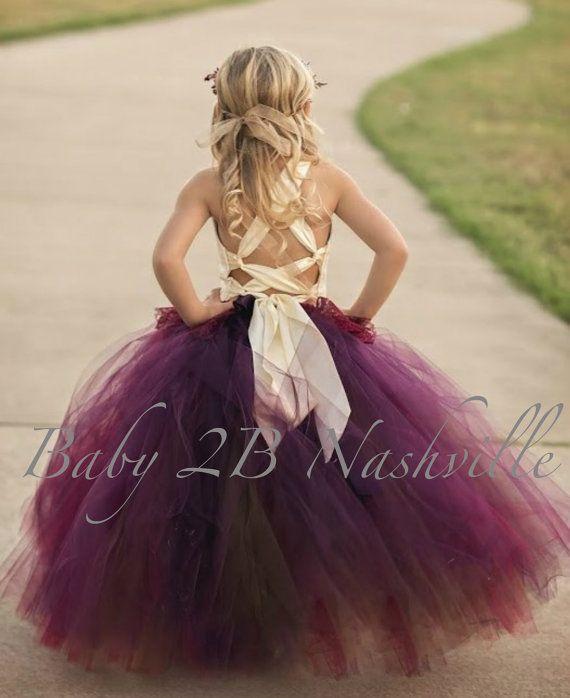 93665f8d053 Chocolate Plum Dress Flower Girl Dress Ivory Dress Tulle Dress Lace ...