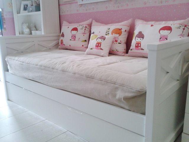 Cama nido cabeceros aspas acabado lacado blanco incluye for Medidas cama compacta