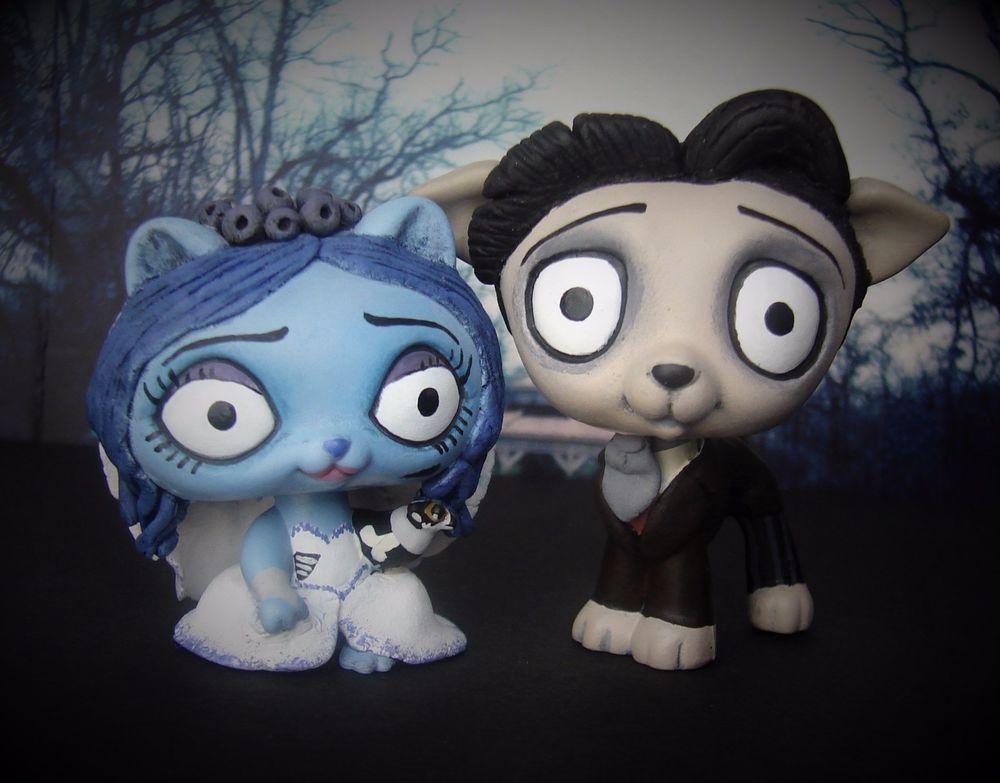 corpse bride emily victor littlest pet shop ooak custom figure lps halloween hasbro