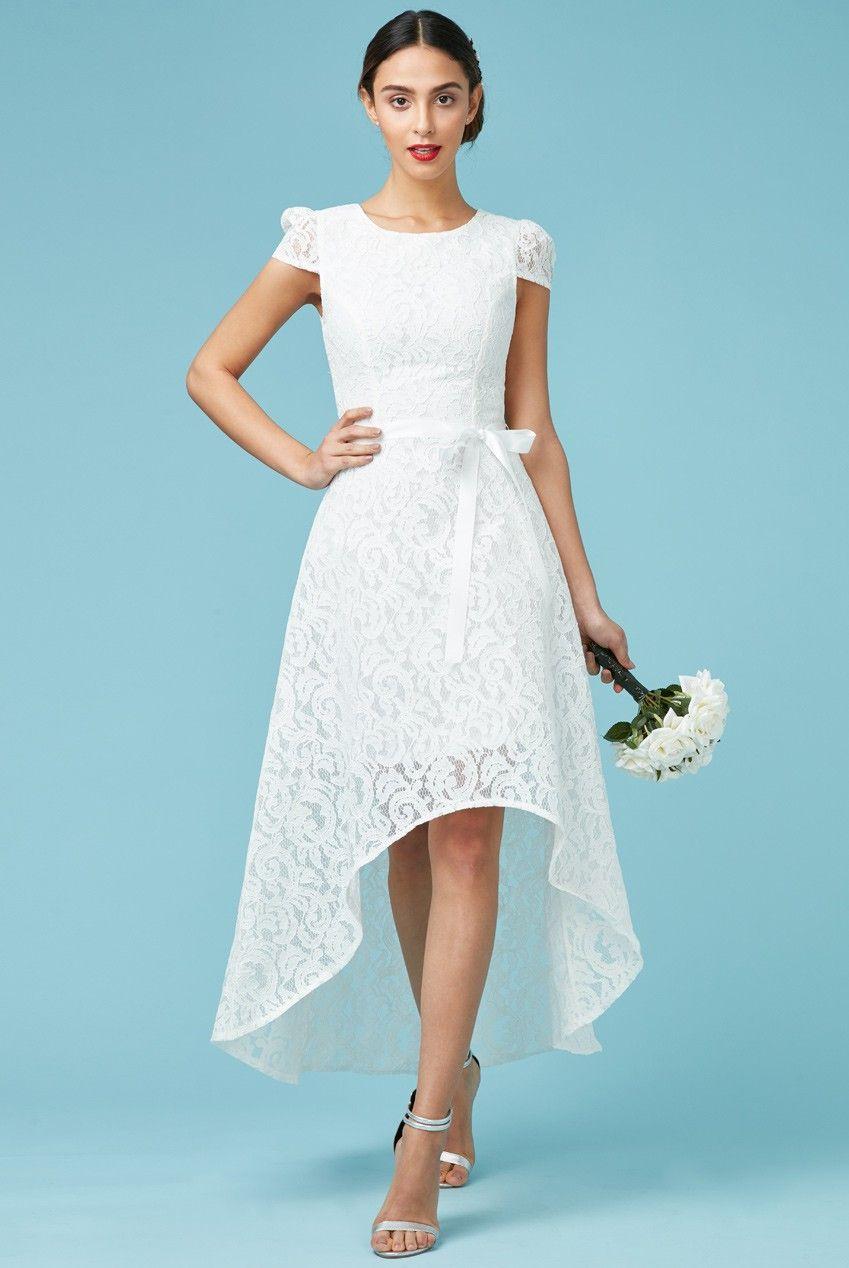Asymmetric lace maxi wedding dress with ribbon tie white