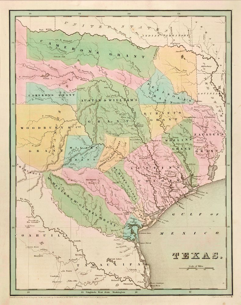 Republic of Texas by Thomas Bradford 1838 The geography of this
