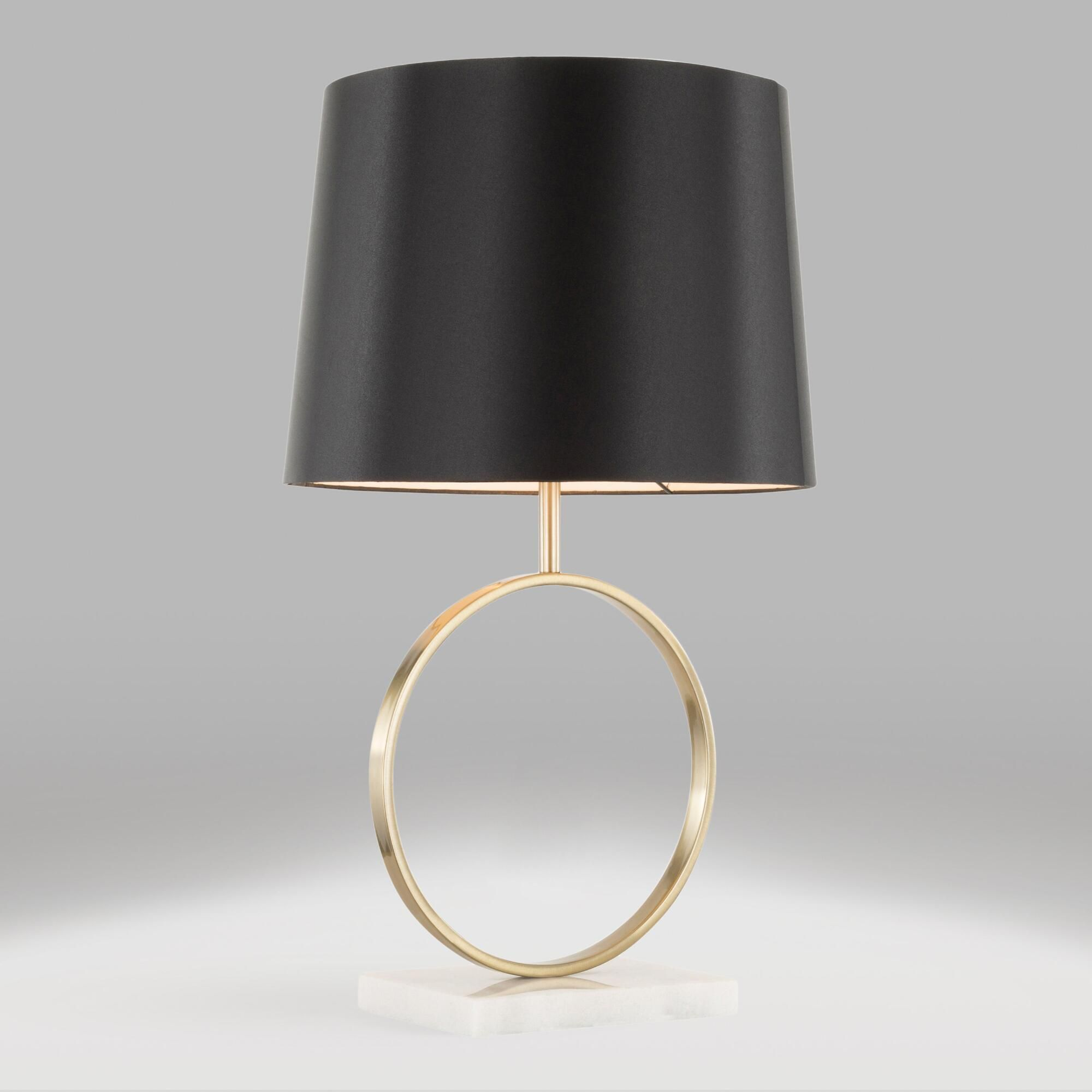 Marble and Gold Circle Kane Table Lamp and Shade Set by ...