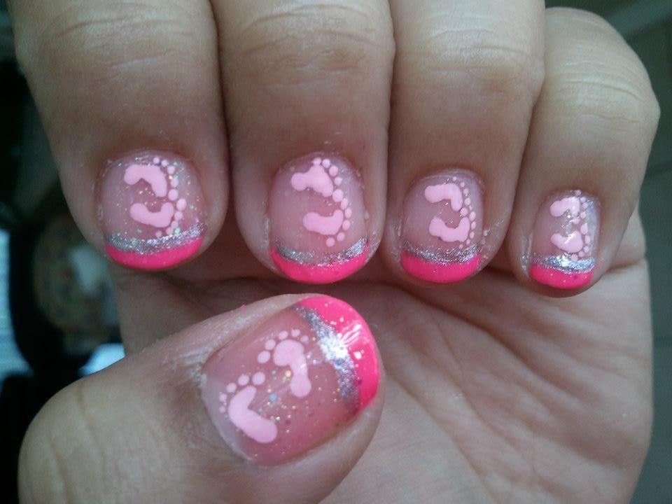 Its A Girl Baby Footprints Nail Art Theme Nail Art Pinterest