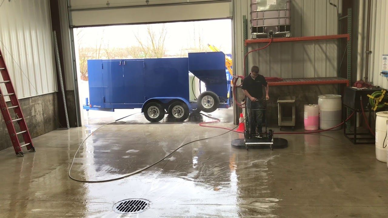 """Trash bin cleaning trailer & 48"""" surface cleaner cleans"""