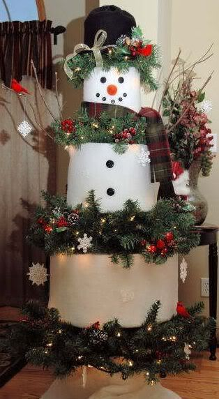 "Snowman Xmas Tree --Inexpensive faux Xmas tree. Smush the branches in three areas and wrap with batting for the Snowman's body. Add lights and picks and cardinals, etc, to the ""wreath"" parts. The tree is sitting on a stool, you can put the front two legs of it in old boots to look like his feet. The tree pictured is a $20 six ft tree. Would work with any size tree however."